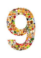 FOODFONT NUMBER 9 ON WHITE
