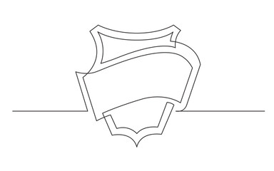 continuous line drawing of ribbon label and shield