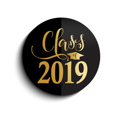 vector illustration of a graduating class in 2019. Graphics elements for t-shirts, and the idea for the badge or sign