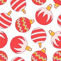 Seamless christmas pattern with red balls