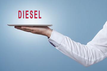 Tablet mit dem Wort Diesel in rot