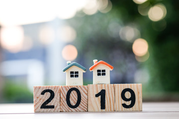 Two house model on 2019 wooden blocks number. New year property investment concept.