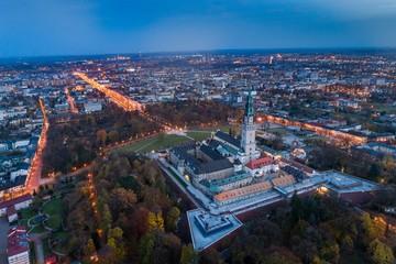 Night aerial drone view on Czestochowa and Jasna Gora monastery