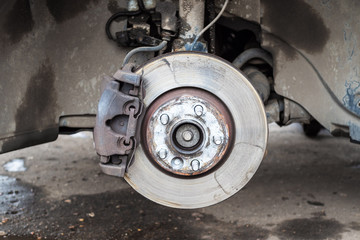front view of used brake disc on old vehicle