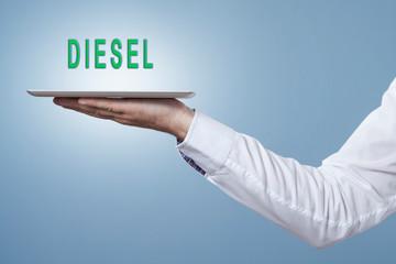 Tablet mit dem Wort Diesel