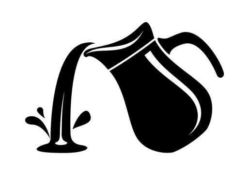 Jug pour out milk or water canister. Simple logo.