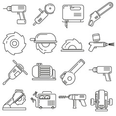 Icons on the theme of construction supplies, on a white background