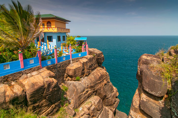 View down of Swami Rock from the Koneswaram Hindu temple in the Trincomalee, Sri Lanka.