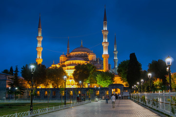 Blue mosque, Sultan Ahmed Mosque in Istanbul at night, Turkey.