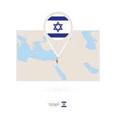 Rectangular map of Israel with pin icon of Israel