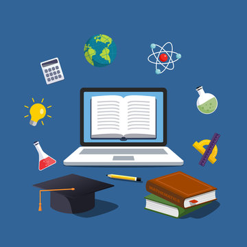 Modern online education concept. Home education. College homework. Studying at home with computer. Computer courses process and ebooks reading. Resources library.