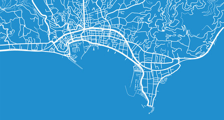 Urban vector city map of Cannes, France