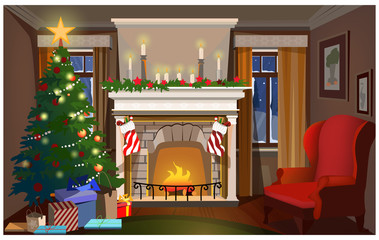 Christmas interior with decorated fir-tree, fireplace and armchair. Room with fir-tree and Christmas socks vector illustration. Christmas Eve concept. For websites, wallpapers, posters or banners.