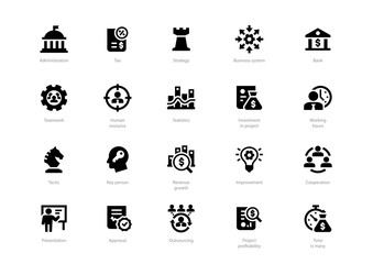 Set of black solid business icons isolated on light background. Contains such icons Administration, Tax, Strategy, Cooperation, Teamwork and more.