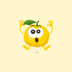 Illustration of cute yuzu scared mascot isolated on light background. Flat design style for your mascot branding.