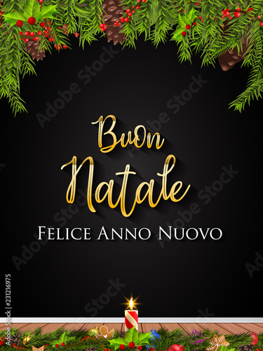 Italian Christmas and Happy New Year greeting card\