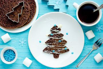 Christmas tree chocolate pancakes for kids breakfast or dessert, creative christmas new year food art