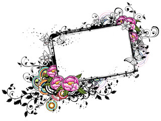 Rectangular frame with Pink Roses flower
