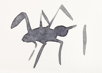sketch of spider drawn by black watercolors