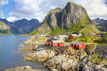 Fotomurales - Fishing village Hamnoy, Reine, Lofoten Islands, Norway