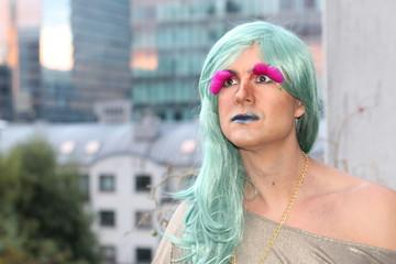 Stunning transgender woman looking away