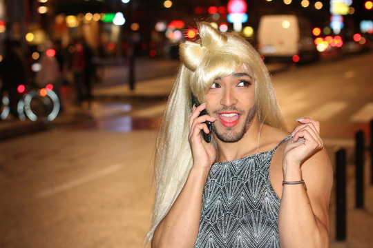 Bearded woman calling by phone