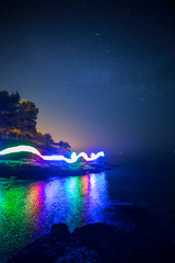 Light painting in the sea