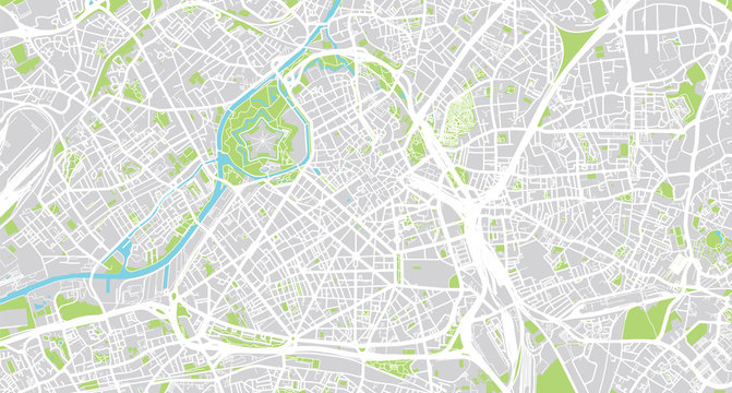 Urban vector city map of Lille, France
