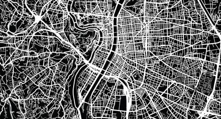 Urban vector city map of Lyon, France