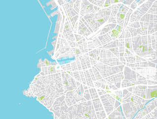 Urban vector city map of Marseille, France