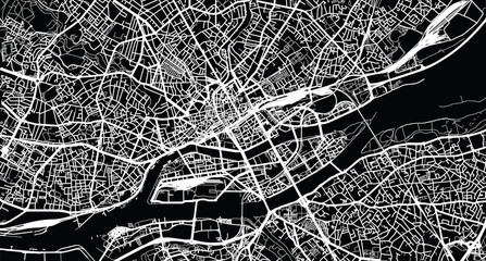 Urban vector city map of Nantes, France