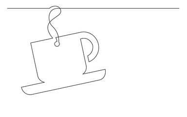 continuous line drawing of coffee cup label