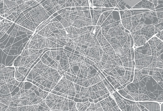 Urban vector city map of Paris, France