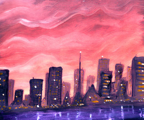Abstract city on sunset in gouache