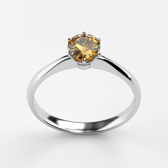 Silver Amber diamond Ring isolated on white background, 3D rendering.