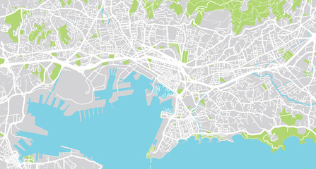 Urban vector city map of Toulon, France