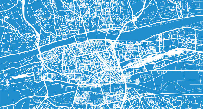Urban vector city map of Tours, France