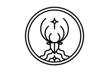 Linear hipster deer logo with cross