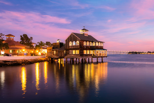 Vintage House in the sea with beautiful sky. The Pier Cafe in Seaport Village, San Diego.