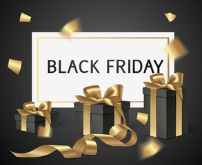 Black friday sale design template. Vector banner with black gift boxes and gold bow. Holiday decoration