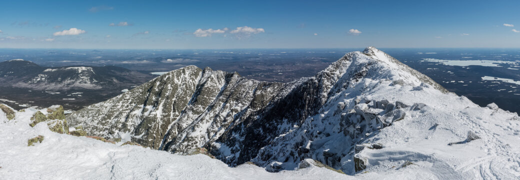 Panoramic view of the famous knife edge on a clear winter day, from Baxter peak, Katahdin, Maine, USA