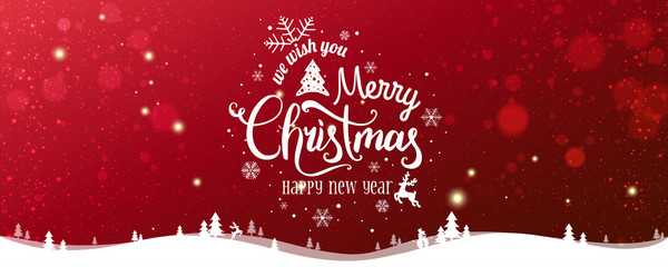 Fototapete - Christmas and New Year Typographical on snowy Xmas background with winter landscape with snowflakes, light, stars. Merry Christmas