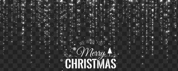 Christmas and New Year typographical on transparent background with sparking, light, stars. Glowing glitter light effects. Xmas