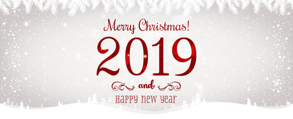 Christmas and New Year Typographical on shiny Xmas background with winter landscape with snowflakes, light, stars. Merry Christmas