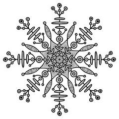 Snowflake creative illusration. Ethnic temporary tattoo. Creative print.