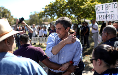U.S. Rep. Beto O'Rourke (D-TX), candidate for U.S. Senate greets supporters at a campaign rally in Plano