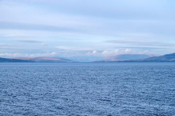 Rothesay & Dunoon in ther Misty Distance across the River Clyde from Largs.