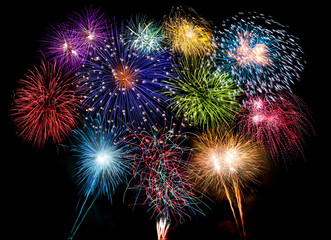 colorful fireworks display and bright sparkler pyrotechnic number 2019 happy new year background