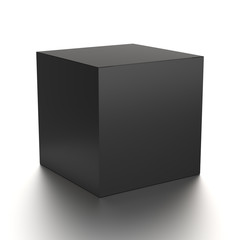 Black cube blank box from front side far angle. 3D illustration isolated on white background.