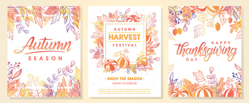 Autumn seasonals postes with autumn leaves and floral elements in fall colors.Autumn greetings cards perfect for prints,flyers,banners,invitations,promotions and more.Vector autumn illustration..